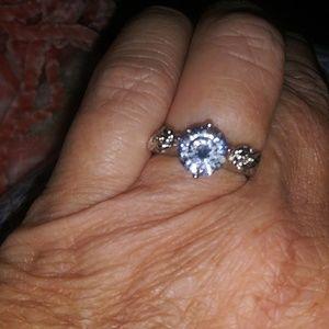 Stamped 925 white topaz ring.